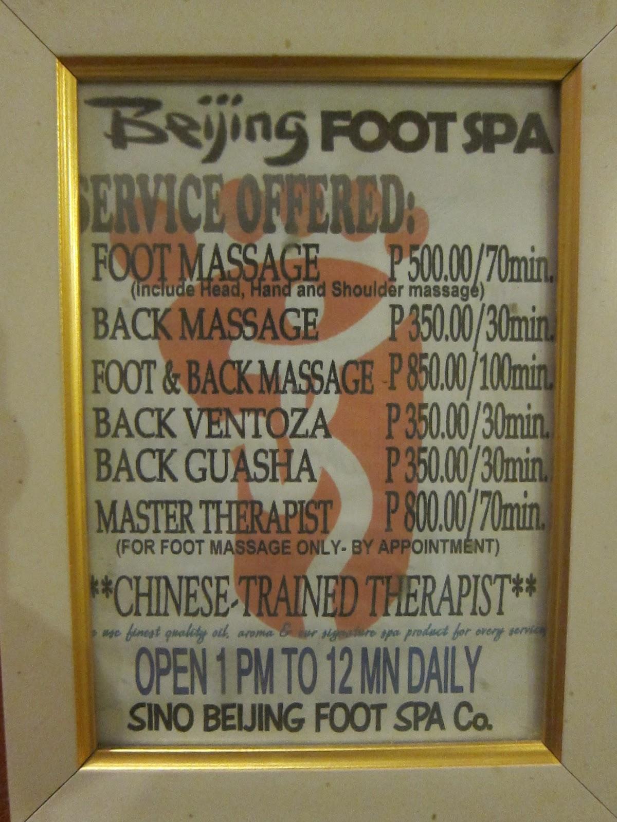 Beijing Foot Spa Menu