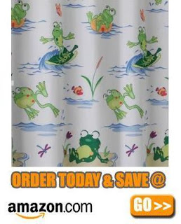 Frogmania Frog Designed Fabric Shower Curtain: BedBathHome.Com