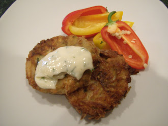 Zuccini Cakes with Fresh Horseradish Sourcream Sauce!