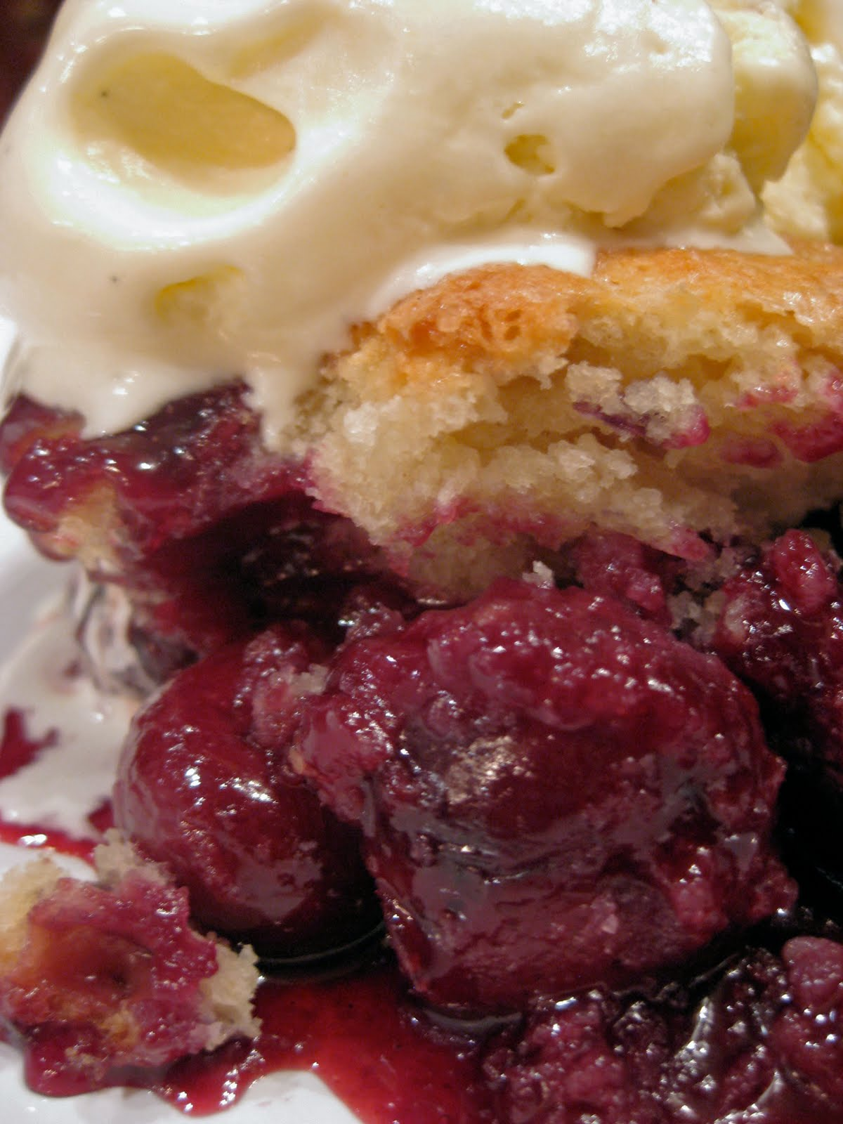 Cherry Cobbler with Vanilla Ice Cream