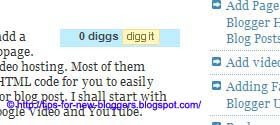 Add Digg button to Blogger or Blogspot