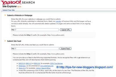 Submit Blogger Sitemap to Yahoo