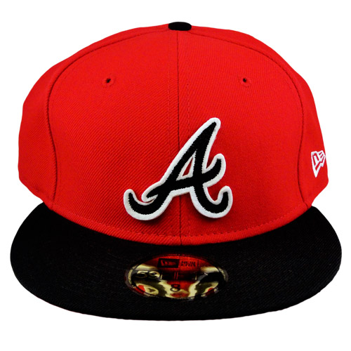 Atlanta Braves Red And Black Fitted Hat By New Era 59Fifty