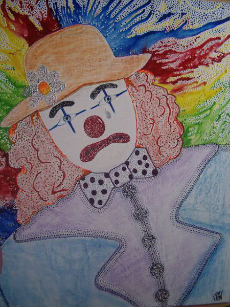 "Encaustic Art "" sad clown """