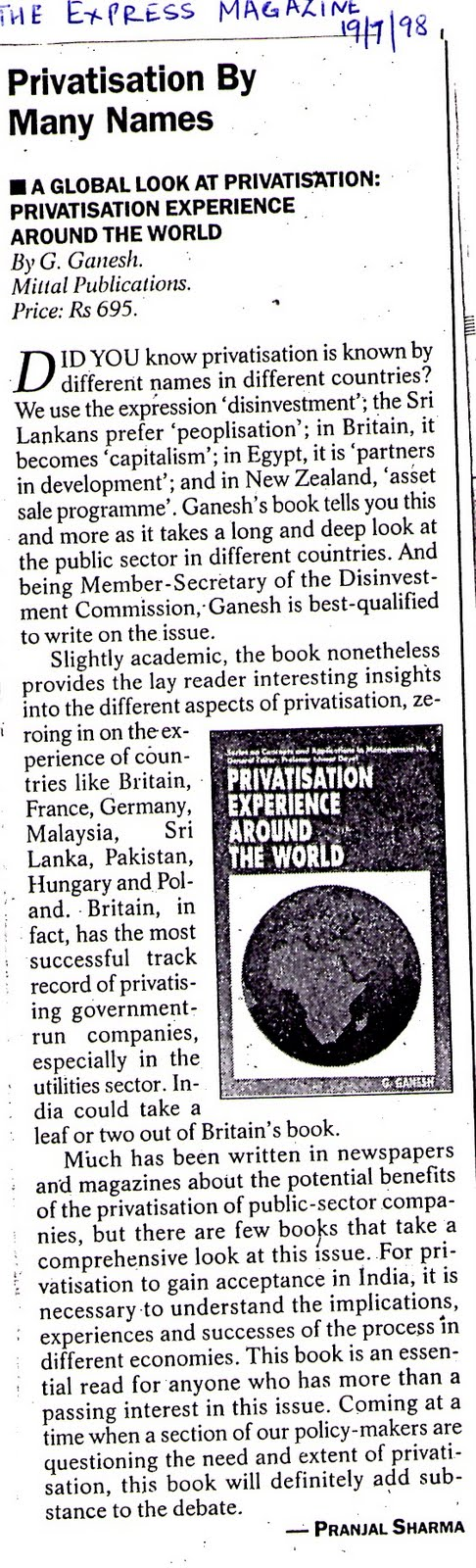 disinvestment and privatisation The hindu business line the sportstar frontline mentor - accountancy columns - for the asking disinvestment vs privatisation.