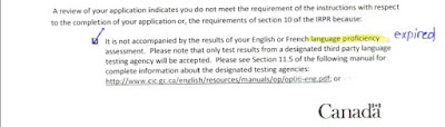 Expired IELTS   Returned Application from CIO