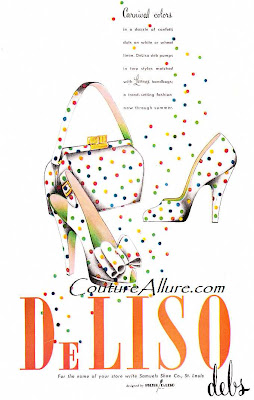 deliso debs shoes, 1949, polka dots