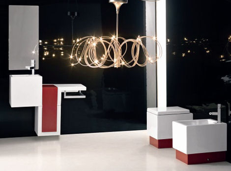 Beautiful-laquer-bathroom-laquer-with-stylish-hanging-lamp
