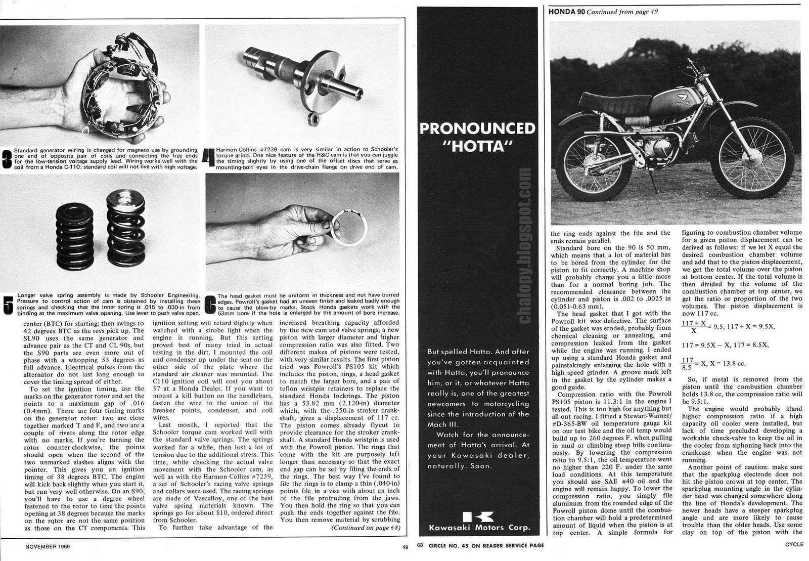 Chalopy October 2010 The Above Picture Shows Honda Cb100 Pictorial Diagram It 90 Hop Up Part 2 By Jess Thomas Cycle Magazine 69