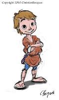 Process drawing of a cartoon shepherd boy