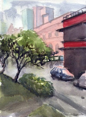 Outdoor watercolour painting of China town Brisbane