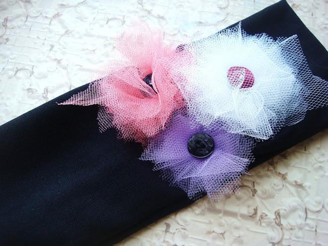 banda negra-colores pastel flores de tul