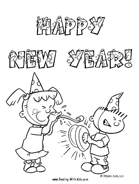 New Year Coloring Pages, New Year Coloring Cards title=