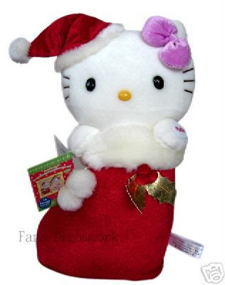 Lovely SANRIO HELLO KITTY in Santa Boot Plush