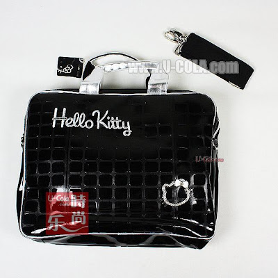 Hello Kitty Shiny Black Laptop Notebook Bag