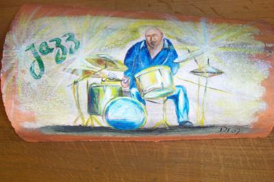Jazz ( peinture sur tuile)