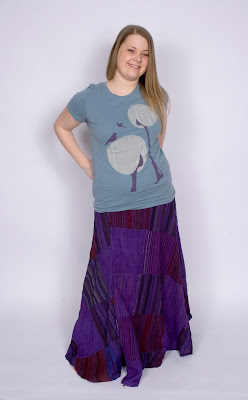 flowy patchwork hippie wrap skirt on model