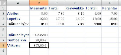 Excel kertolasku