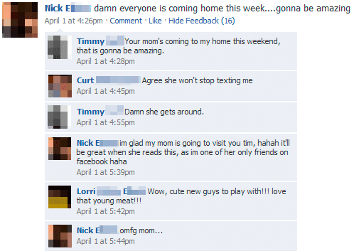 fb funny facebook fail status update comments your mom