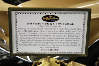 Sign for 1968 Shelby Mustang GT500 Fastback
