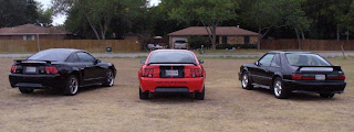 Ford Mustang GTs 2002 2000 1987 Rear View