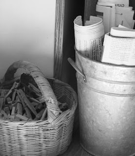 Black and White of Baskets with Clothespins and Newspapers