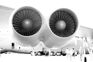 Black and White of Airplane Turbine Engines