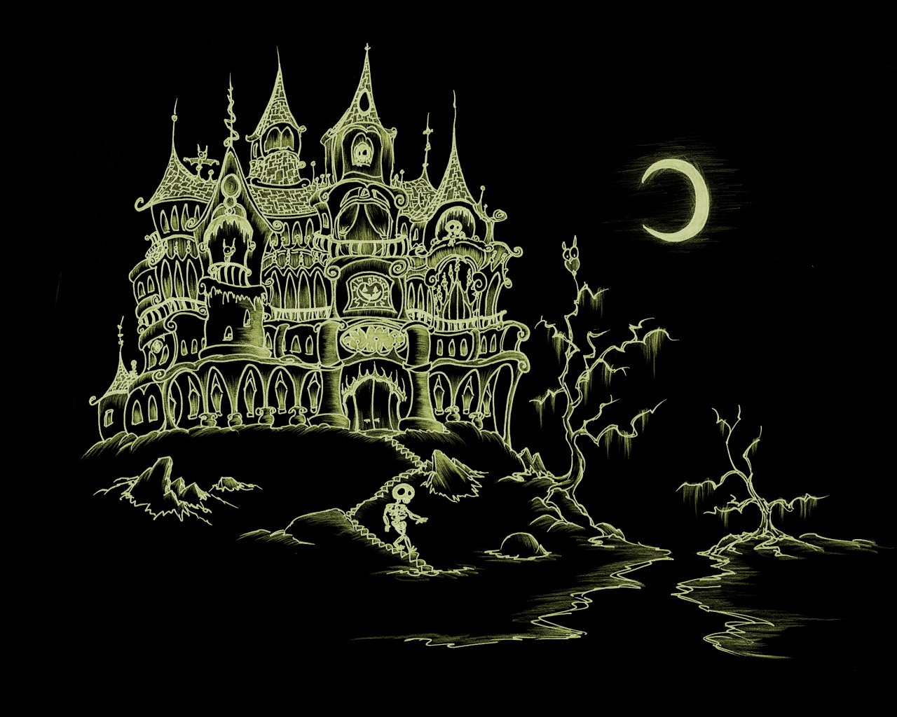 Grand Wazoo Clothing And Other Woundrous Things: haunted house drawing ideas