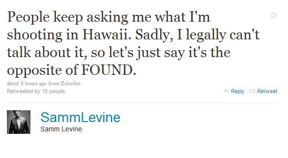 and Jonaju for the heads up on this Tweet from Samm Levine that seems to confirm that he  Samm Levine to Guest
