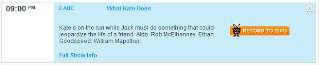 Thanks to Jeff for the following news that we Episode 6.03 - What Kate Does - Aldo Back