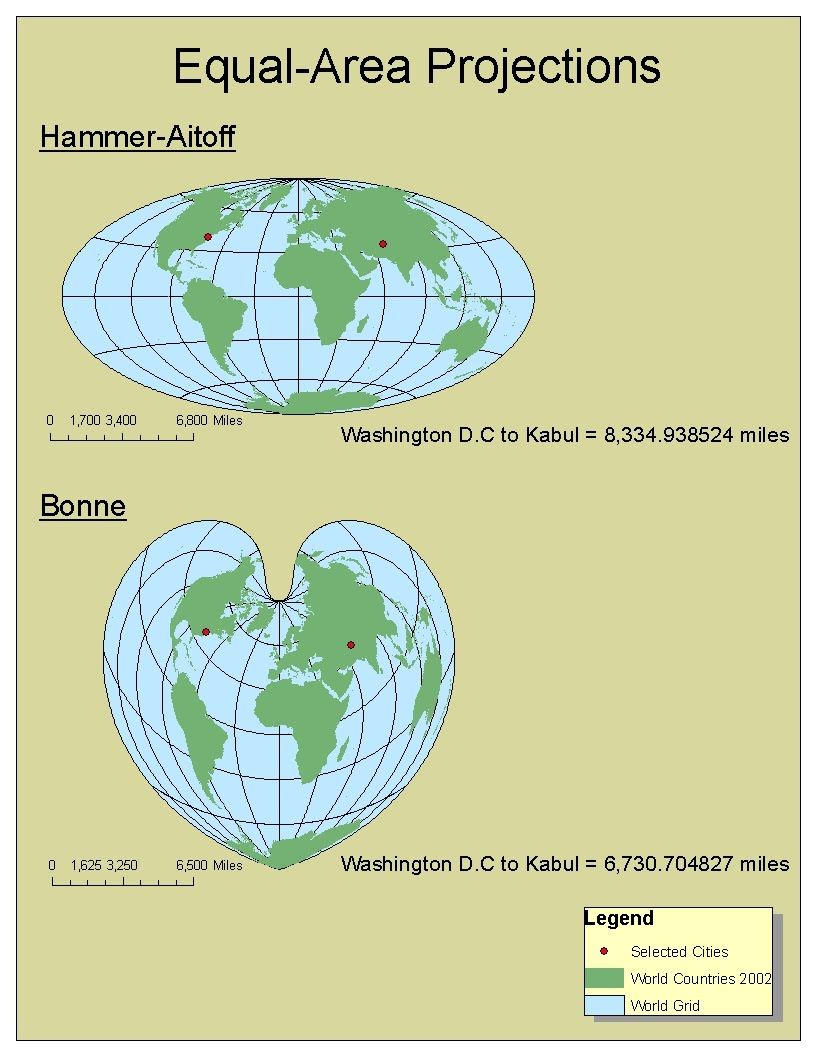 different map projections Compare map projections: out of more than two hundred projections, choose two to compare them directly to each other.