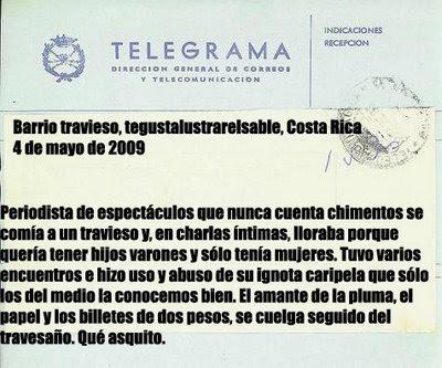 S lo enigm ticos telegrama for Ultimos chimentos dela farandula argentina 2016