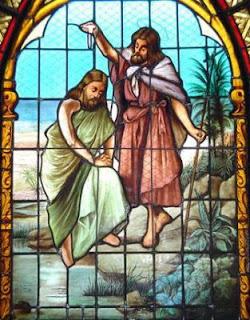 Vidriera en la que se representa el Bautismo de Cristo