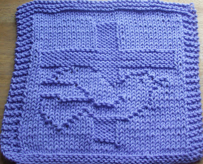 Knitted Dishcloth Patterns For Easter : DigKnitty Designs: Cross and Dove Knit Dishcloth Pattern
