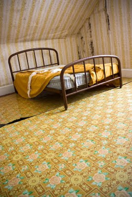 bed yellow wallpaper