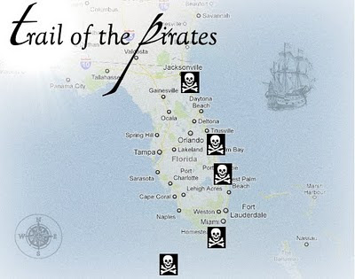 trail of the pirates east coast map