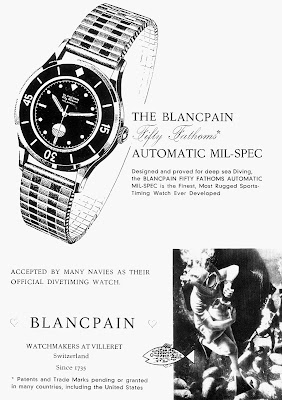 Pub montre Blancpain Fifty Fathoms de 1954