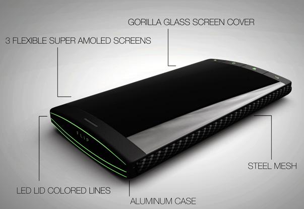 nuevo smartphone Flip de 3 pantallas