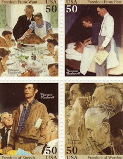 Stamp Catalogue Commemorative Stamps Norman Rockwell 1993 50c Postage Stamps