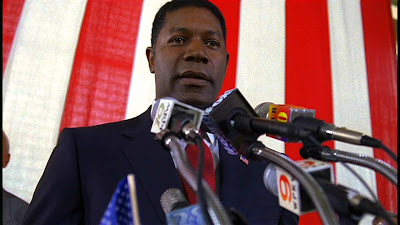Dennis Haysbert as David Palmer. convincing and promising