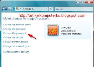masukkan password yang aktif, klik remove password