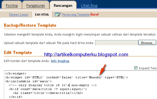 gadget html tanpa judul