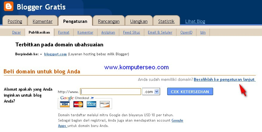 custom domain co cc di blogspot