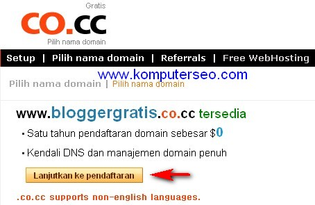 Setting domain co.cc di blogger