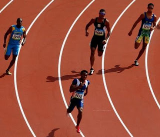 Nery Brenes of Costa Rica leads the third heat of the men's 400m competition in the National Stadium at the Beijing 2008 Olympic Games August 18, 2008. Brenes won the heat and advanced to the semifinals. (Photo by Getty Images)