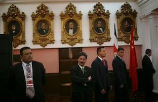Costa Rican presidential guards provide security as China's President Hu Jintao, unseen, visits the Legislative Assembly in San Jose, Monday, Nov. 17, 2008. (AP Photo)