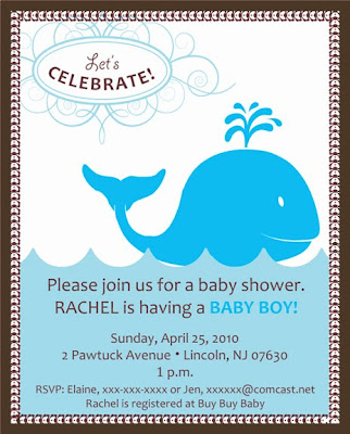 made this invitation for a baby shower that incorporates a whale theme