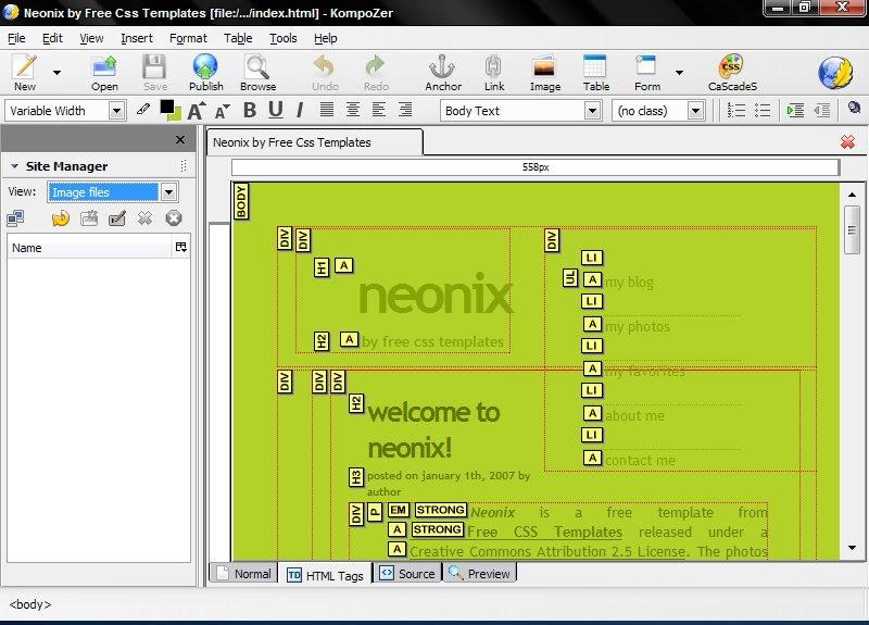Download Free Template For Kompozer Software