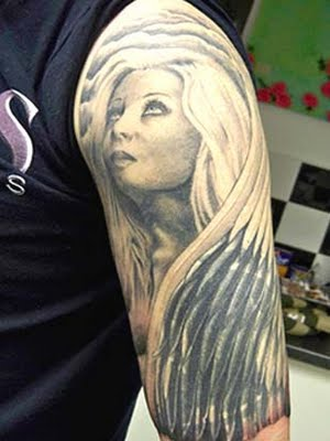 Believed to be punished by the God for doing something wrong and banished from heavens, dark angel tattoos are inked on different body-parts,