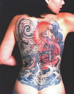 Women Yakuza Tattoo on Back Body